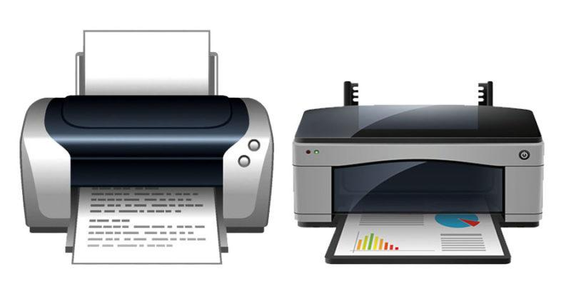На картинке изображены два принтера для организации: лазерный принтер и струйный принтер для цветной печати