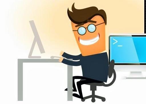 на картинке изображен системный администратор за работой